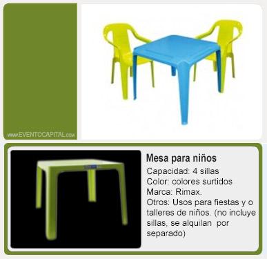 Alquiler de menaje mesas sillas y manteler a banquetes - Mesas pequenas para ninos ...